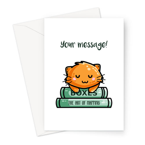 Personalised greeting card of a cute ginger cat asleep on two green books on a white background
