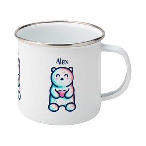 A silver rimmed white enamel mug seen from the front, with the handle to the right, with the personalised name Alex written above the cute polar bear holding a heart