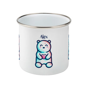 A silver rimmed white enamel mug seen from the side, with the handle behind and not visible, with the personalised name Alex written above the cute polar bear holding a heart