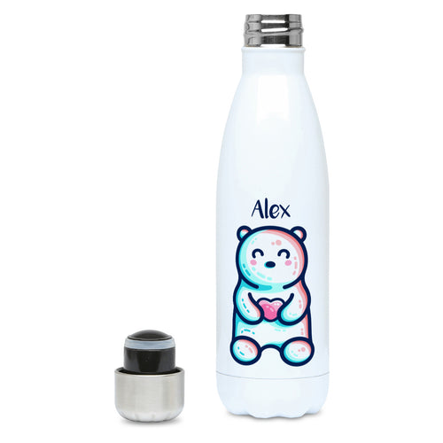 A white stainless steel drink bottle with the name Alex above a cute polar bear sitting holding a pink heart in its paws - lid off view