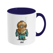 Load image into Gallery viewer, Cute vintage deep sea diver design on a two toned blue and white ceramic mug, showing RHS