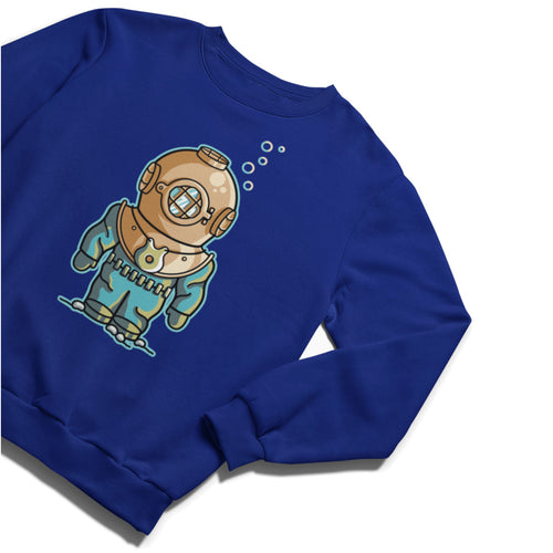 A mid blue unisex crewneck sweatshirt with a print on the front of a deep sea diver in a vintage diving suit and weights with bubbles rising from the helmet