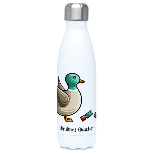 A tall white stainless steel drinks bottle seen from the front with its silver lid on a design of a mallard duck with a red and green Christmas cracker and the words Christmas Quacker written in black beneath