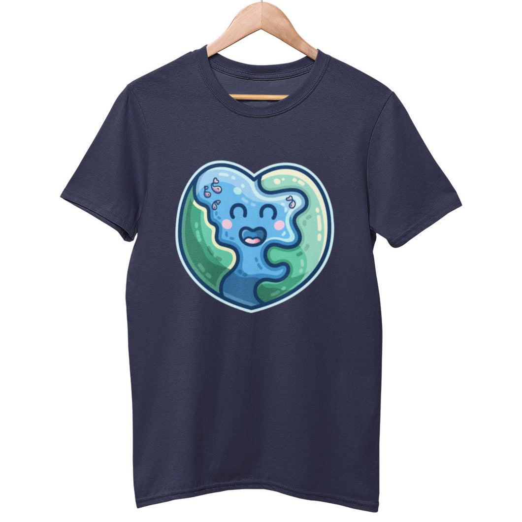 A navy colour unisex crewneck t-shirt on a hanger with a design on its chest of a kawaii cute blue and green heart shaped Earth like planet, with a few fish in the sea