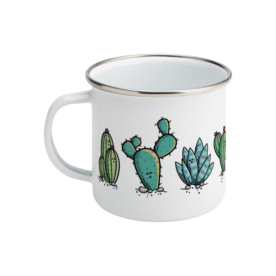 Four kawaii cute cactus plants design on a silver rimmed white enamel mug, showing LHS