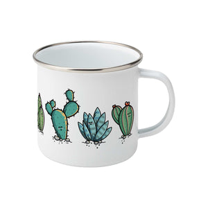 Four kawaii cute cactus plants design on a silver rimmed white enamel mug, showing RHS