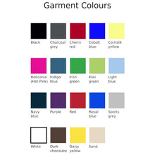 Load image into Gallery viewer, Chart showing garment colour options