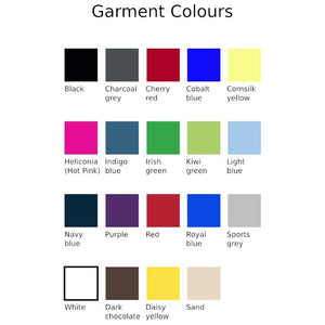 Chart showing garment colour options
