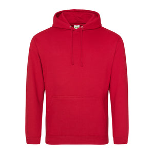 Picture of a red colour AWDis college hoodie with neck cords and front pouch