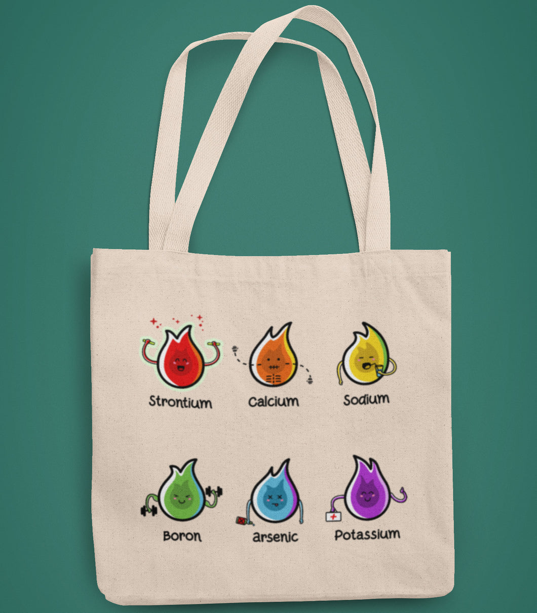 Six chemistry elements cute coloured flames design on a recycled cotton and polyester tote bag