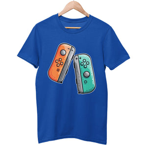 A royal blue colour unisex crewneck t-shirt on a hanger with a design on its chest of two gaming controllers, an orange one on the left and a green one on the right