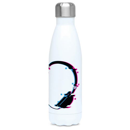 Headphones glitch art design on a white metal insulated drinks bottle, lid on