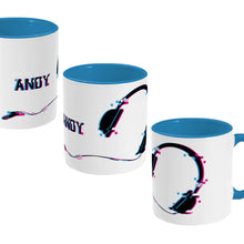 Load image into Gallery viewer, Glitch art headphones personalised design on a two toned blue and white ceramic mug, showing three views