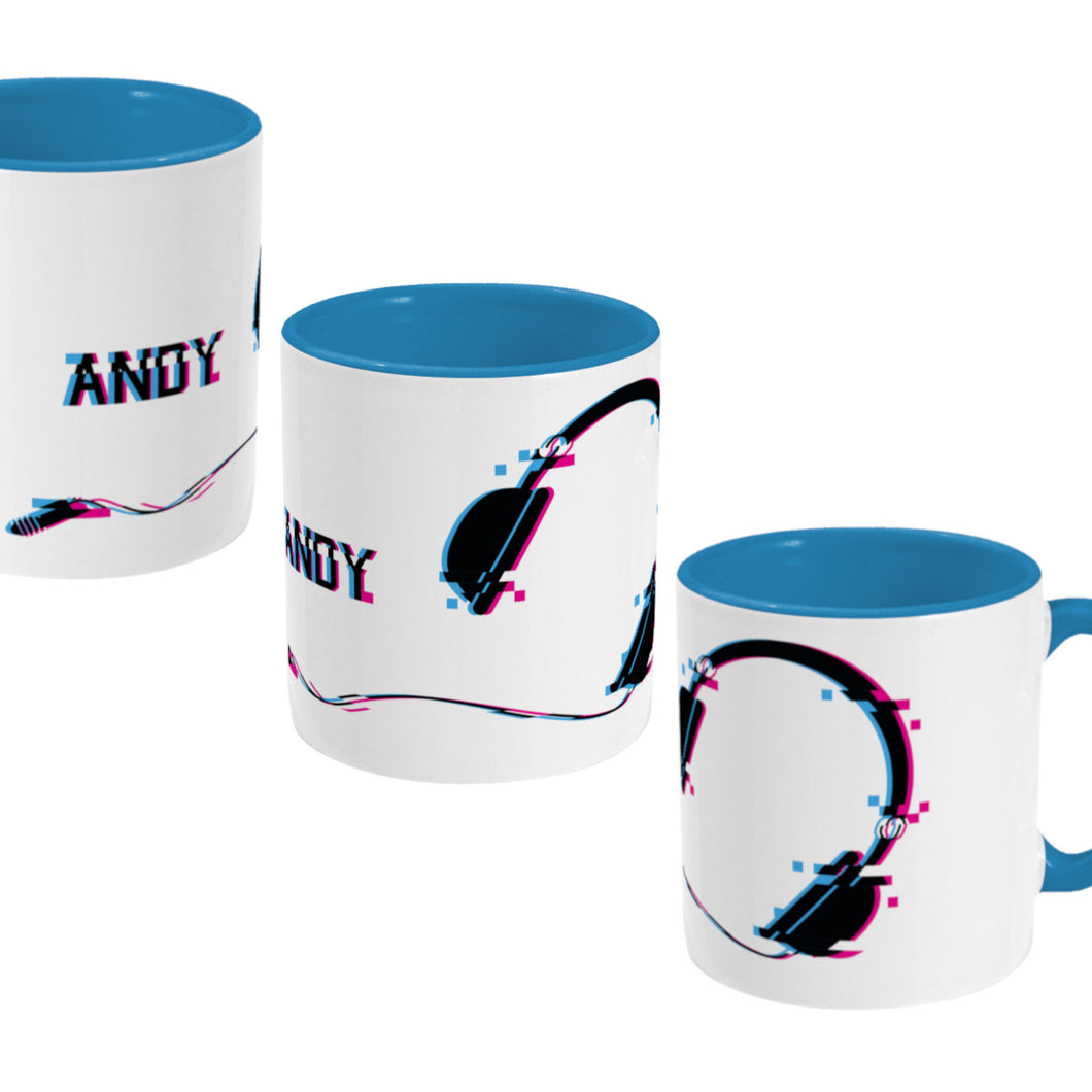Glitch art headphones personalised design on a two toned blue and white ceramic mug, showing three views