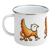 Load image into Gallery viewer, Kawaii cute orange and white griffin design on a silver rimmed white enamel mug, showing LHS
