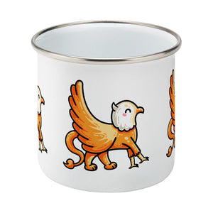 Kawaii cute orange and white griffin design on a silver rimmed white enamel mug, middle view