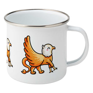 Kawaii cute orange and white griffin design on a silver rimmed white enamel mug, showing RHS