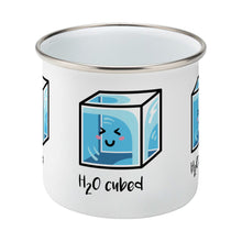 Load image into Gallery viewer, Kawaii cute blue cube of ice with the words 'H20 cubed' design on a silver rimmed white enamel mug, middle view