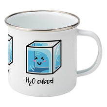 Load image into Gallery viewer, Kawaii cute blue cube of ice with the words 'H20 cubed' design on a silver rimmed white enamel mug, showing RHS