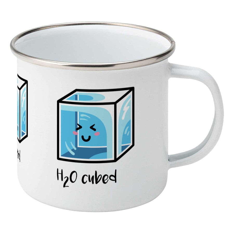Kawaii cute blue cube of ice with the words 'H20 cubed' design on a silver rimmed white enamel mug, showing RHS