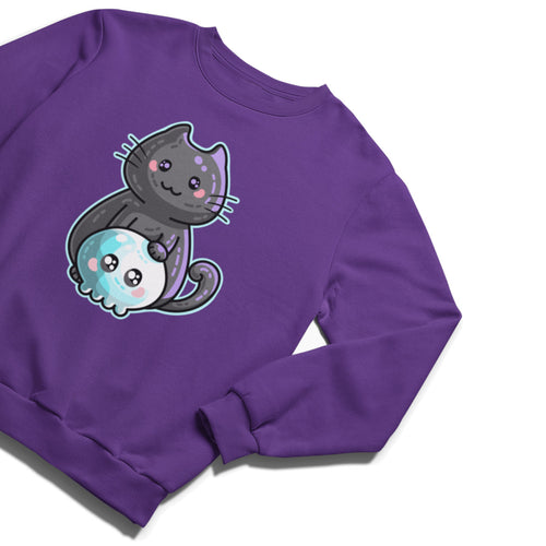 A purple unisex crewneck sweatshirt laid flat with a design on its chest of a cute black cat resting its paw on a kawaii cute blue and white skull