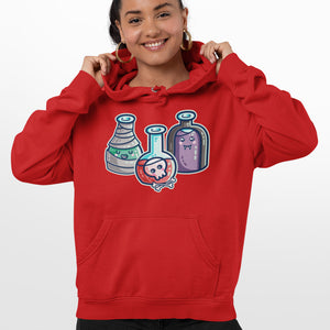 A woman wearing a red hoodie with the neck cords tucked in and a design on the chest of three glass potion bottles in halloween costume
