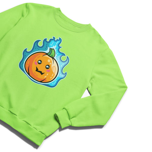 A lime green unisex crewneck sweatshirt laid flat and with a design on its chest of a kawaii cute orange pumpkin with green stalk surrounded with blue flames