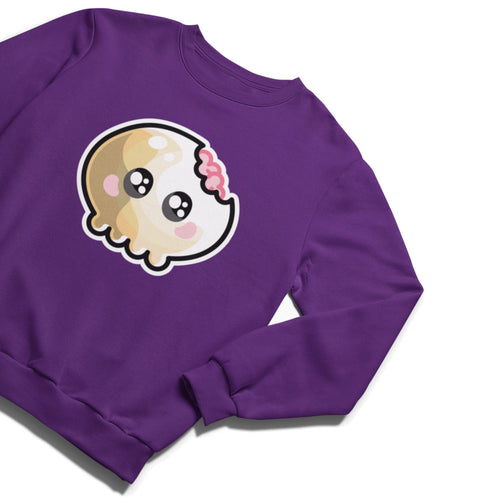 A plum coloured unisex crewneck sweatshirt laid flat with a design on its chest of a kawaii cute skull with a bite out of the top right hand corner showing some pink brains