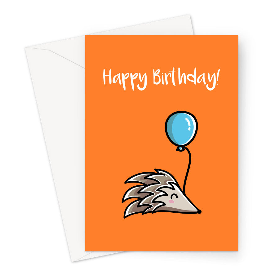 Birthday card of a cute hedgehog holding a blue balloon on an orange background