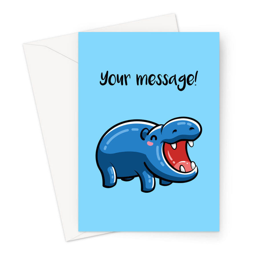 Personalised greeting card of happy blue hippo on a blue background