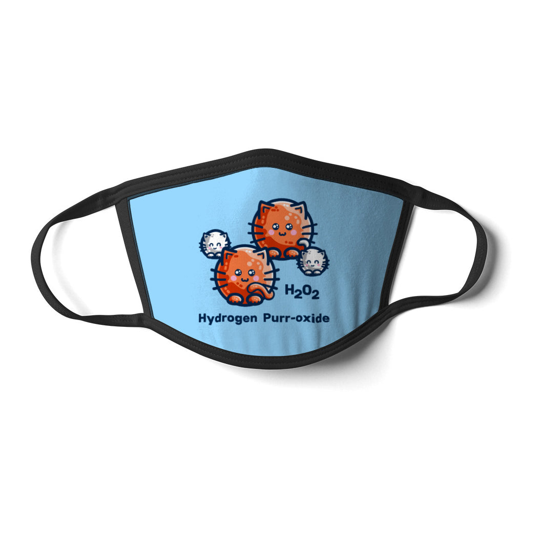 A light blue face mask with black cords and a design of a hydrogen peroxide molecule represented as round white and ginger cats accompanied by the words H202 Hydrogen Purr-oxide