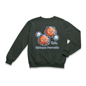 A charcoal grey unisex crewneck sweatshirt laid flat with a design on its chest of a hydrogen molecule with the hydrogen atoms replaced by round white kittens and the oxygen atoms replaced by larger round ginger cats and the words H202 hydrogen purr-oxide