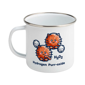 A silver rimmed white enamel mug with the handle to the left showing a design of a hydrogen molecule with the hydrogen atoms replaced by round white kittens and the oxygen atoms replaced by larger round ginger cats and the words H202 hydrogen purr-oxide