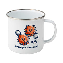Load image into Gallery viewer, A silver rimmed white enamel mug with the handle to the right showing a design of a hydrogen molecule with the hydrogen atoms replaced by round white kittens and the oxygen atoms replaced by larger round ginger cats and the words H202 hydrogen purr-oxide