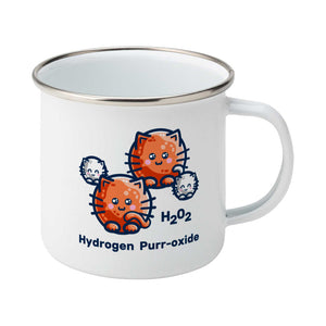 A silver rimmed white enamel mug with the handle to the right showing a design of a hydrogen molecule with the hydrogen atoms replaced by round white kittens and the oxygen atoms replaced by larger round ginger cats and the words H202 hydrogen purr-oxide