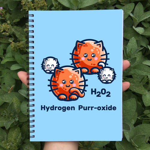 A blue spiral notebook being held in a hand with a design on the front cover of four cats representing the atoms in a hydrgen peroxide molecule with the words H202 hydrogen purr-oxide