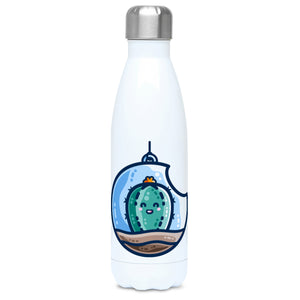 A tall white stainless steel drinks bottle seen from the front with its silver lid on and a design of a kawaii cute happy green cactus succulent planted in a transparent hanging bauble terrarium.