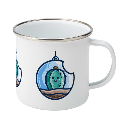 A silver rimmed white enamel mug with the handle to the right showing a design of a kawaii cute happy green cactus succulent planted in a transparent hanging bauble terrarium