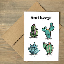 Load image into Gallery viewer, A brown envelope beneath a white greeting card that features four kawaii cute cactus plants with a personalised message above.