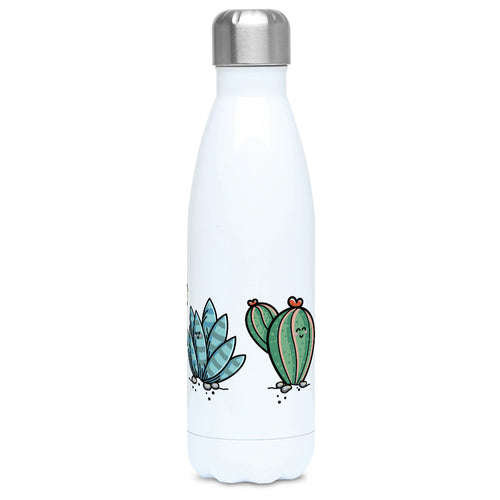Four kawaii cute cactus plants design on a white metal insulated drinks bottle, lid on