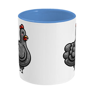 Kawaii cute chicken design on a two toned blue and white ceramic mug, side on
