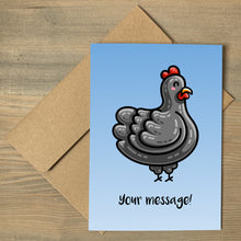 Load image into Gallery viewer, A blue gradient greeting card lying a flat on a brown envelope, with the design of a kawaii cute black chicken and the personalised text 'your message!' beneath
