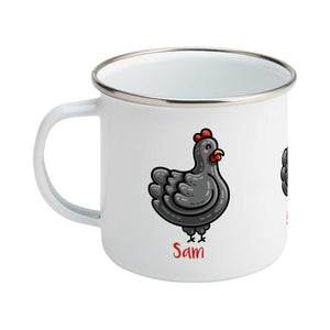 Personalised kawaii cute black chicken  design on a silver rimmed white enamel mug, showing RHS