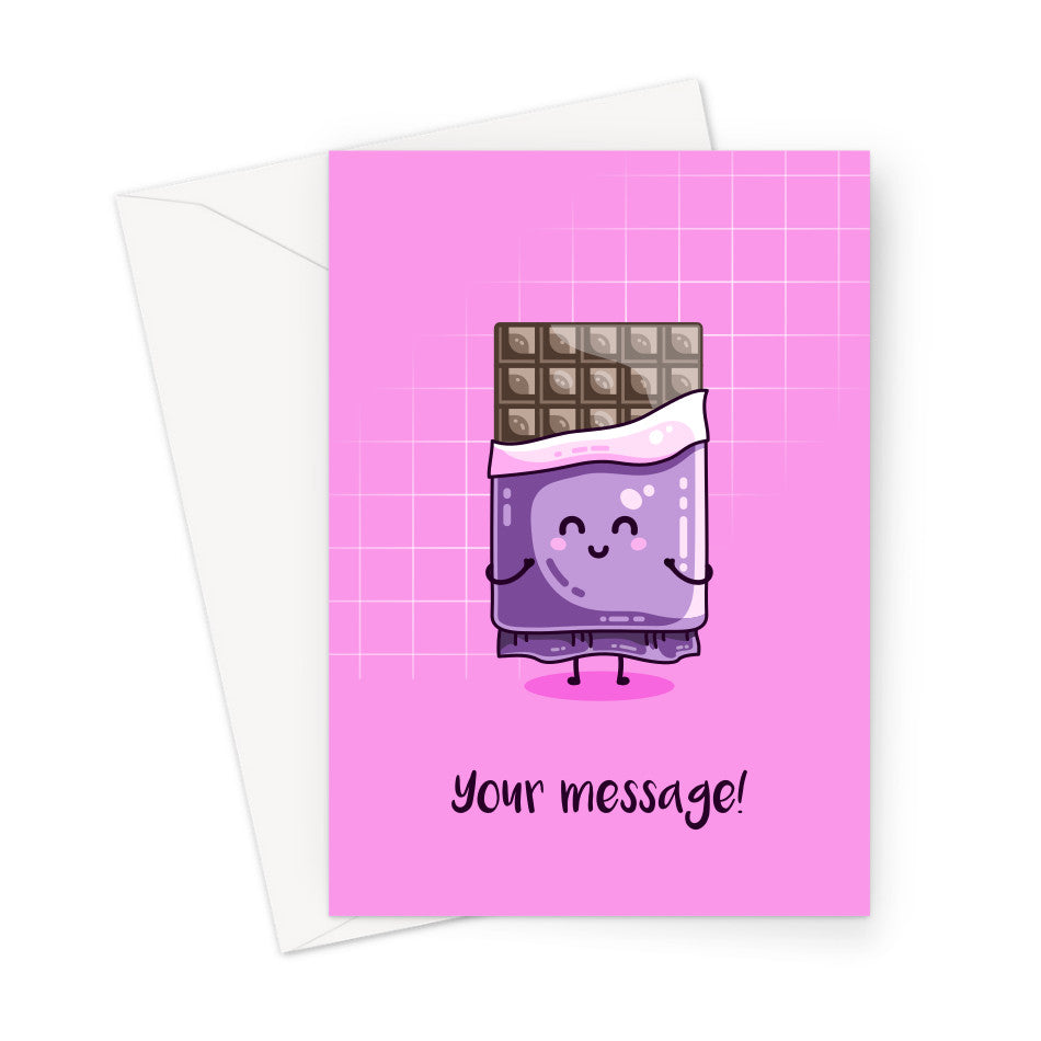 Personalised greeting card of a kawaii cute segmented chocolate bar with a purple wrapper on a pink background