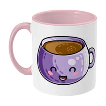 Load image into Gallery viewer, Kawaii cute design of a purple coffee mug on a two toned pink and white ceramic mug, showing LHS