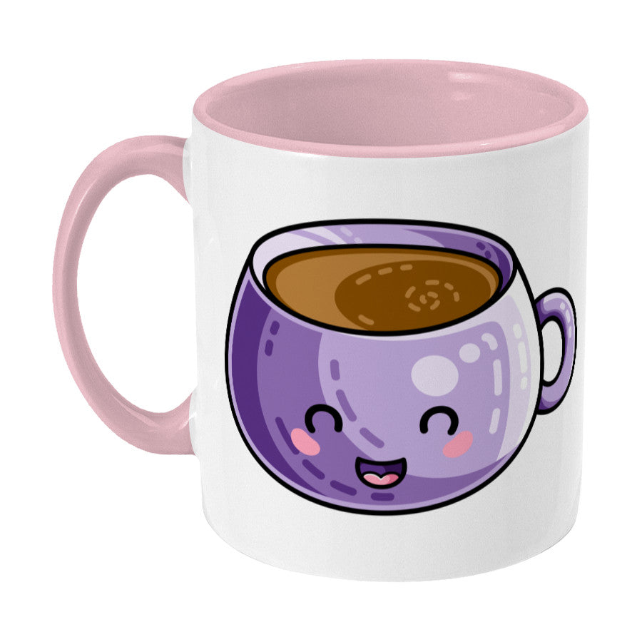 Kawaii cute design of a purple coffee mug on a two toned pink and white ceramic mug, showing LHS