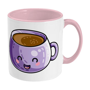 Kawaii cute design of a purple coffee mug on a two toned pink and white ceramic mug, showing RHS