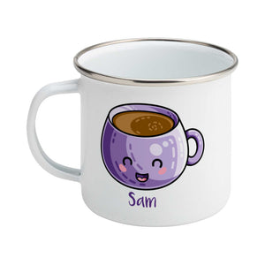 Personalised kawaii cute design of a purple coffee mug on a silver rimmed white enamel mug, showing LHS