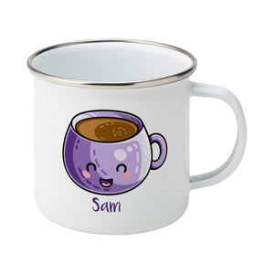 Personalised kawaii cute design of a purple coffee mug on a silver rimmed white enamel mug, showing RHS