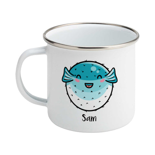 Kawaii cute turquoise and white puffer fish with a name design on a silver rimmed white enamel mug, showing LHS